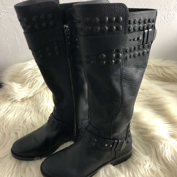 43090c21336 UGG Dayle Black Studded Leather Moto Boot Size 7